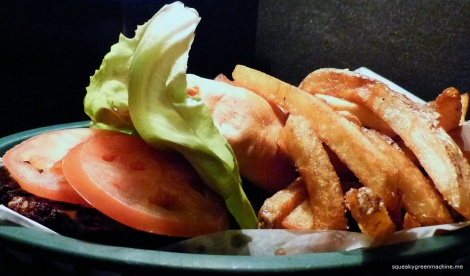 My Black Bean Burger with lettuce, sad tomato (I can't wait for tomato season) and fries - VEGETARIAN