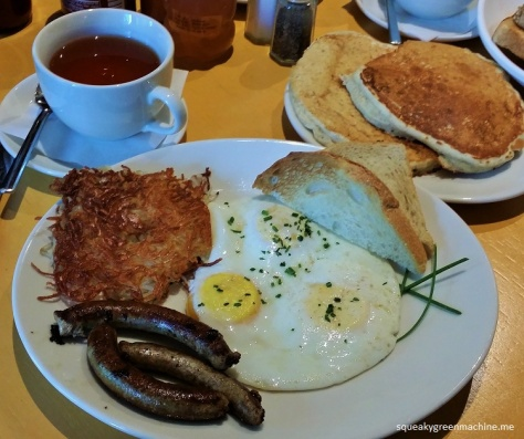 three eggs, short stack, hashbrowns, maple sausage, toast