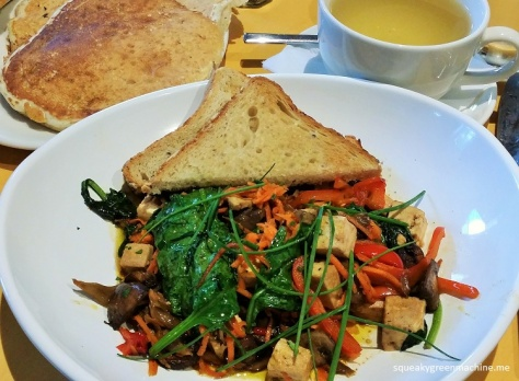 marinated tofu, seasonal vegetables, toast (vegetarian)