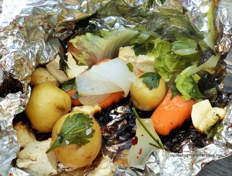 Tofu, napa cabbage, carrots, onion, fresh parsley