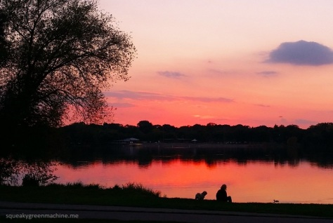 sunset on lake nokomis